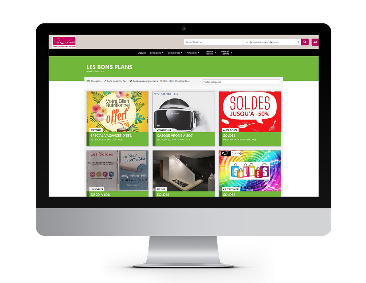 Boutic site internet - listing des bons plans